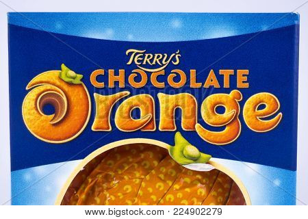 London, Uk - December 18th 2017: A Close-up Of The Terrys Chocolate Orange Logo, On 18th December 20