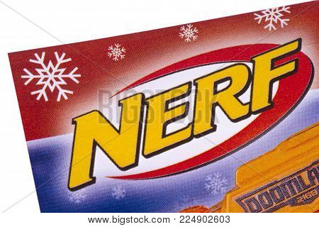 London, Uk - December 18th 2017: The Nerf Logo Printed In A Tesco Toys Catalogue, On 18th December 2