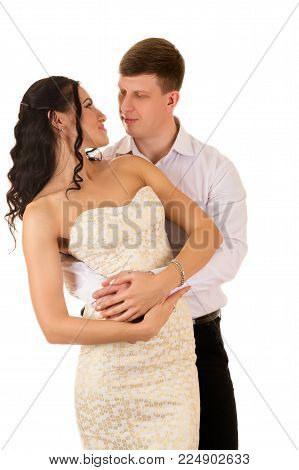 beautiful couple man and woman isolated on white