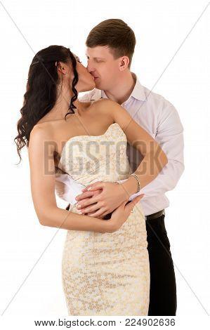 beautiful couple kissing isolated on white background