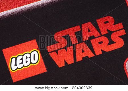 London, Uk - December 18th 2017: The Lego Star Wars Logo Printed In A Tesco Toys Catalogue, On 18th