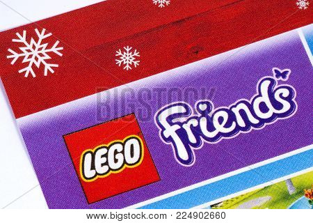 London, Uk - December 18th 2017: The Lego Friends Logo Printed In A Tesco Toys Catalogue, On 18th De