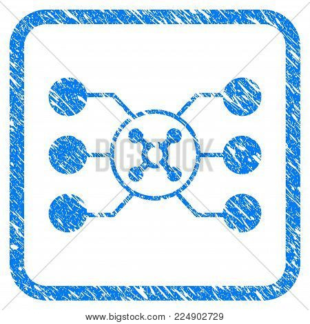 Roulette Circuit grunge textured icon inside rounded frame for overlay watermark stamps. Flat symbol with dirty texture. Framed vector blue rubber seal stamp with grunge design of roulette circuit.
