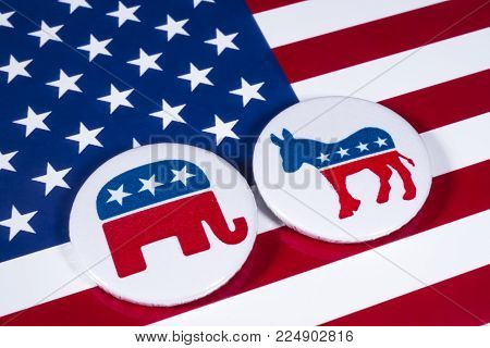 London, Uk - December 18th 2017: The Elephant Symbol Of The Republican Party And The Donkey Symbol O