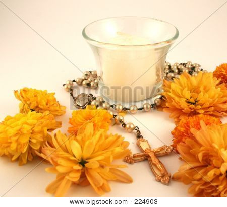 Candle And Rosary