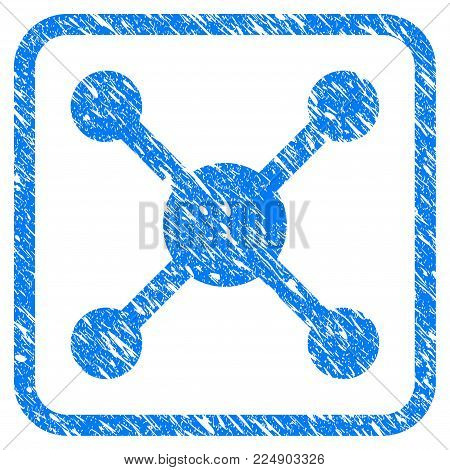 Roulette grainy textured icon inside rounded square for overlay watermark stamps. Flat symbol with unclean texture. Framed vector blue rubber seal stamp with grunge design of roulette.