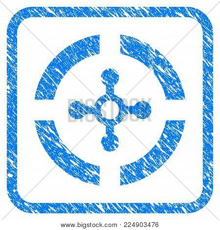 Roulette grunge textured icon inside rounded rectangle for overlay watermark stamps. Flat symbol with unclean texture. Framed vector blue rubber seal stamp with grunge design of roulette.