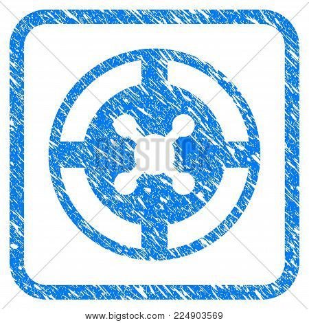 Roulette grainy textured icon inside rounded rectangle for overlay watermark imitations. Flat symbol with dust texture. Framed vector blue rubber seal stamp with grunge design of roulette.