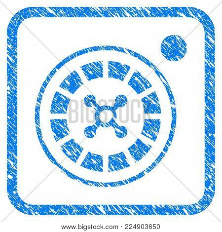 Roulette scratched textured icon inside rounded square for overlay watermark imitations. Flat symbol with scratched texture. Framed vector blue rubber seal stamp with grunge design of roulette.