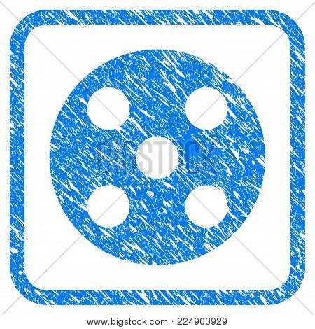 Round Dice grainy textured icon inside rounded rectangle for overlay watermark imitations. Flat symbol with unclean texture. Framed vector blue rubber seal stamp with grunge design of round dice.