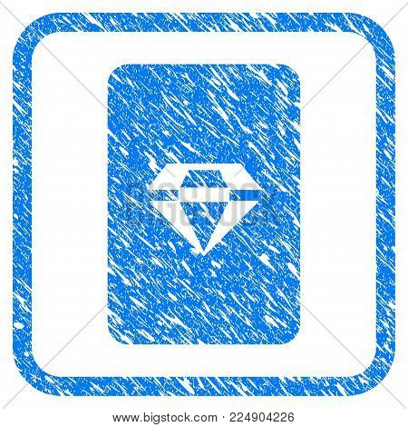 Ruby Gaming Card grainy textured icon inside rounded frame for overlay watermark stamps. Flat symbol with unclean texture. Framed vector blue rubber seal stamp with grunge design of ruby gaming card.