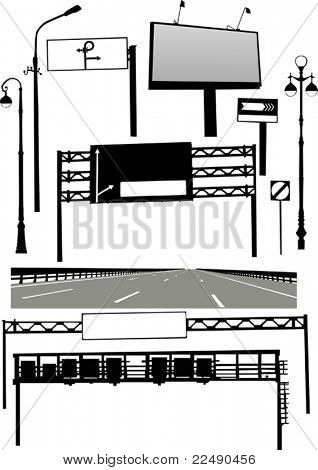 illustration with different road elements collection