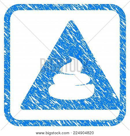 Shit Danger scratched textured icon inside rounded square for overlay watermark stamps. Flat symbol with dirty texture. Framed vector blue rubber seal stamp with grunge design of shit danger.