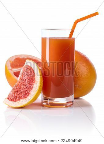 Glass Of Fresh Grapefruit Juice And Cut Fruits White Background.