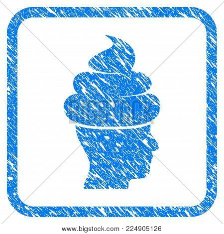 Shit Guy grainy textured icon inside rounded rectangle for overlay watermark stamps. Flat symbol with dirty texture. Framed vector blue rubber seal stamp with grunge design of shit guy.