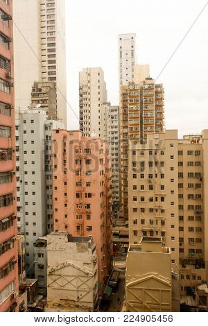 Landscape orange Rooftops of the buildings in hongkong poster