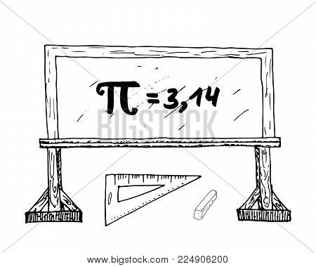 Pi symbol hand drawn icon, Grunge calligraphic mathematical sign on school blakboard vector illustration isolated on white bacground.