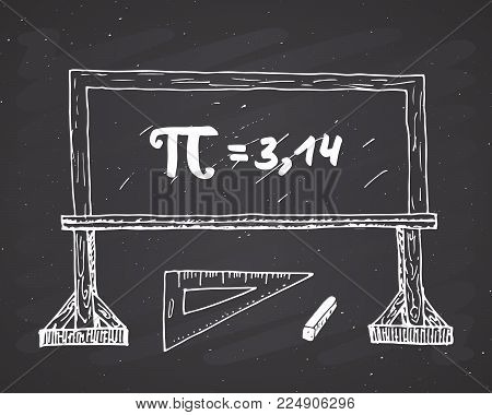 Pi Symbol Hand Drawn Icon, Grunge Calligraphic Mathematical Sign On School Blakboard Vector Illustra