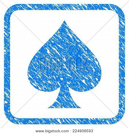 Spades Suit grunge textured icon inside rounded square for overlay watermark imitations. Flat symbol with dirty texture. Framed vector blue rubber seal stamp with grunge design of spades suit.