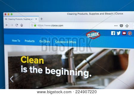 London, Uk - January 25th 2018: The Homepage Of The Official Website For Clorox - The American Manuf