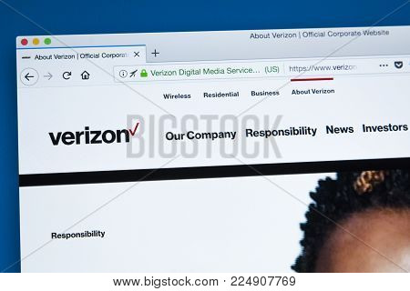 London, Uk - January 25th 2018: The Homepage Of The Official Website For Verizon Communications - Th