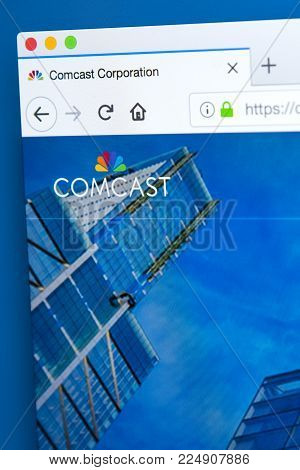 London, Uk - January 25th 2018: The Homepage Of The Official Website For Comcast Corporation - The A