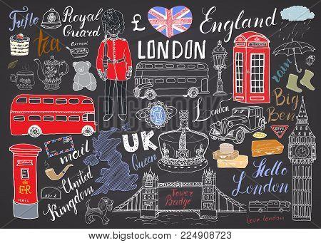 London City Doodles Elements Collection. Hand Drawn Set With, Tower Bridge, Crown, Big Ben, Royal Gu