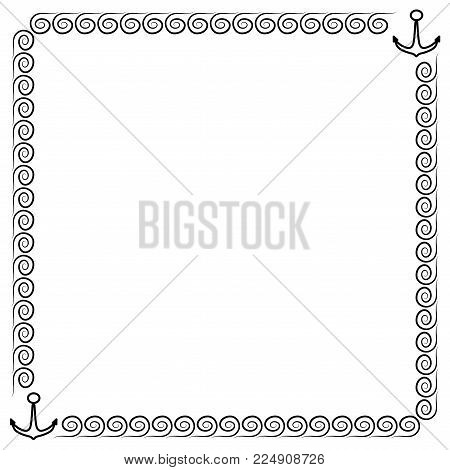Frame black. Border from waves and anchors. Decoration sea concept. Monochrome framework isolated on white background. Decoration banner rim. Modern art scoreboard. Stock vector illustration
