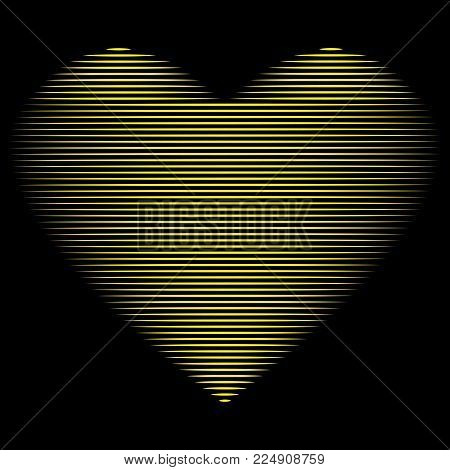 Heart of gold lines sign. Beautiful yellow icon isolated on black background. Lovely symbol. Logo for romantic holiday, celebration. Image of romance. Mark of decoration for love. Stock vector