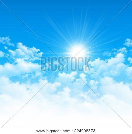 Blue Sky, Bright Sun And White Clouds