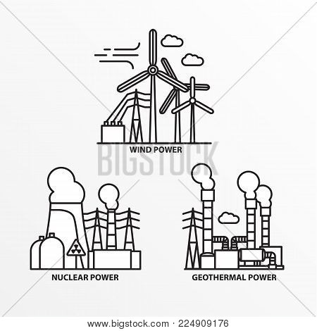 Set of power station icons trendy lineaar style. Ecology concept. Nuclear geothermal and wind power plants.