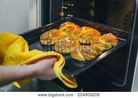 Woman put batter for cupcakes in oven in kitchen closeup.