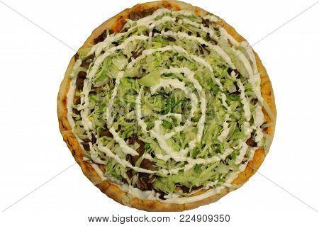 Doner meat pizza. Turkish doner food. Turkish kebab pizza.