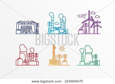 Set of power station icons. Vector linear style. Ecology concept. Nuclear geothermal wind solar hydro and thermal power plants.