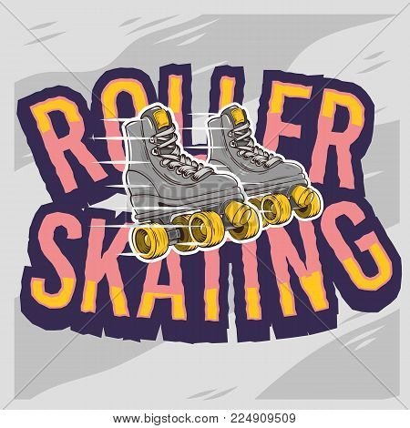 Roller Skating Design With A Classic Model Roller Skates. Vector Graphic.