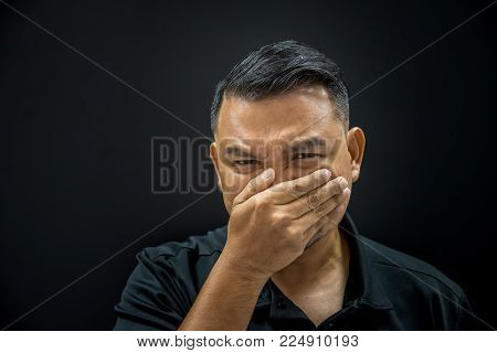 Asian Man Prevent Stench On Background Dark Style