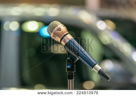 Microphone In Seminar Event Or Meeting Room Use Mic For Sound Amplify When Talk Or Communicate On St