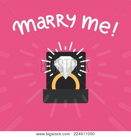 Diamond ring vector marry me template. Abstract wedding card, declaration of love. Ring with precious stone and text MARRY ME. Cute love concept for young couple