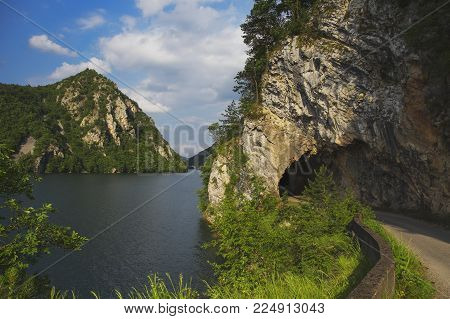 Road And Tunnel Along The Perucac Lake In Serbia