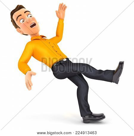 3d man slipping and falling, illustration with isolated white background