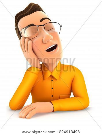 3d man fell asleep leaning on his hand, illustration with isolated white background