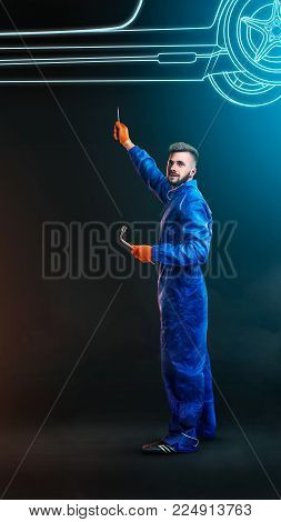 Portrait Of A Mechanic At Work On Pattern Effect Neon Car