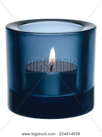 Candle light in a glass jar. Vector realistic 3d illustration