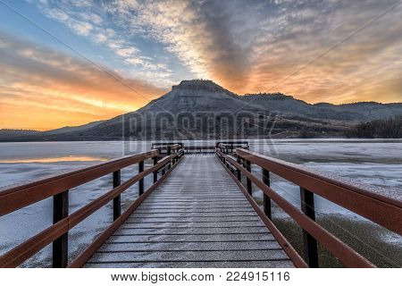 Winter Sunrise at Flatiron Reservoir located in Loveland, Colorado in Larimer County in Northern Colorado