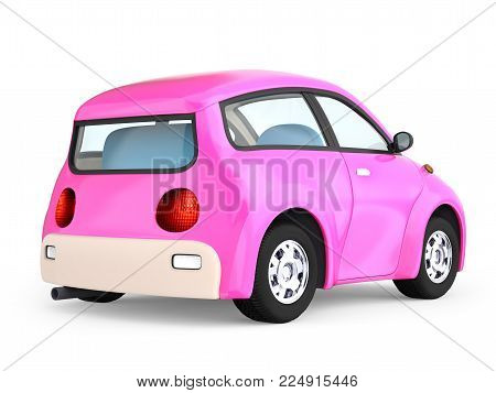 Small cute pink car back view isolated on white. 3d illustration