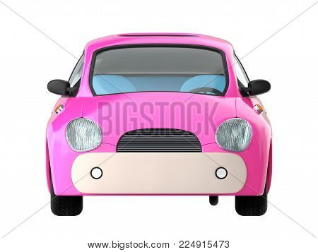 Small cute pink car front view isolated on white. 3d illustration