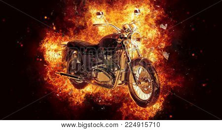 Dramatic burning motorcycle engulfed in fierce fiery orange flames and exploding sparks on a dark background, 3d rendering