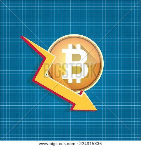 vector bitcoin market crash graph on blueprint background. Bitcoin hype concept vector illusrtation with blank space fo text. depreciation of bitcoin.
