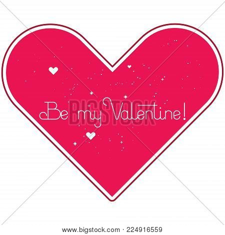 Valentine's day greeting card. Lettering. Vektor. flat style.