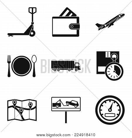 Forklift icons set. Simple set of 9 forklift vector icons for web isolated on white background